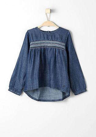 Jeans-Bluse mit Smoke-Details