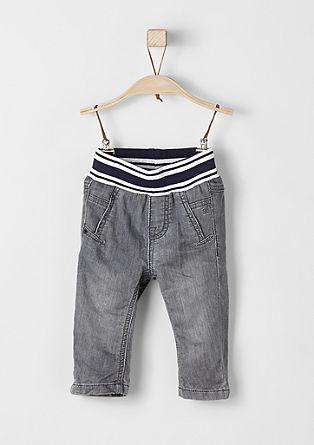 Jeans hlače s kontrastnim pasom