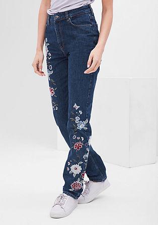 Jeans hlače z vezenino, visok pas