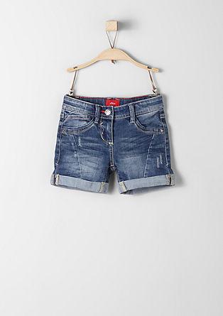 Jeans kratke hlače z barvnimi šivi