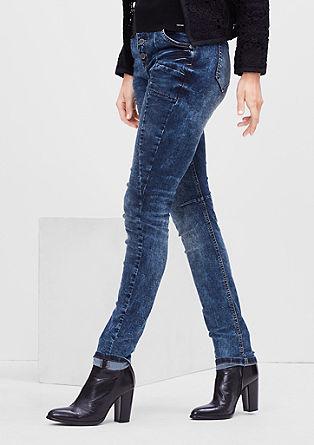 Jeans met een hoge taille en garment-washed effect