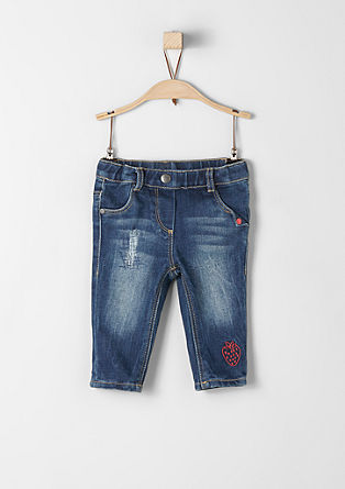 Jeans with embroidered strawberry from s.Oliver