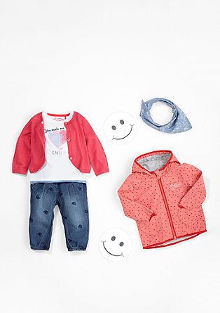 Jeans z uvezenimi motivi in rebrastim pasom
