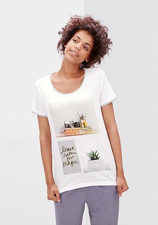 Jemné tričko s natištěnou koláží