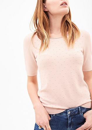 Jemný pulovr s krátkým rukávem a puntíky