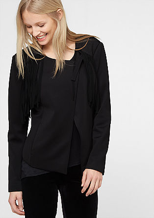 Jersey blazer with fringing from s.Oliver
