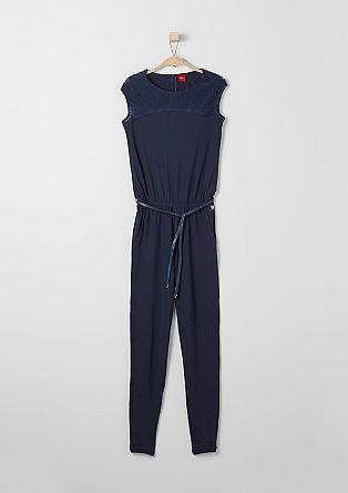 Jersey jumpsuit met ceintuur