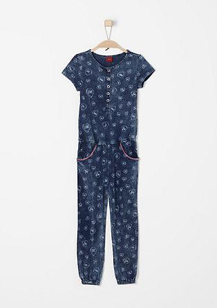 Jersey jumpsuit met een print