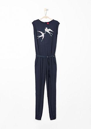 Jersey-Jumpsuit mit Pailletten