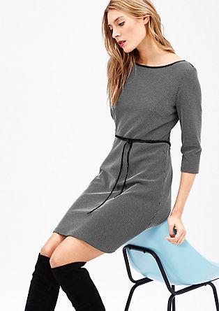 Jersey jurk met structuurmotief