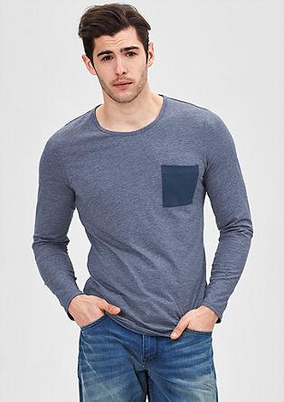 Jersey longsleeve met borstzak