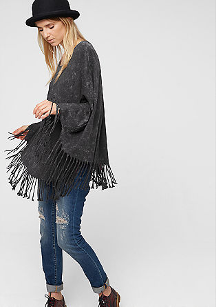 Jersey poncho with fringing from s.Oliver