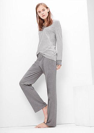 Jersey pyjama met wijde broek