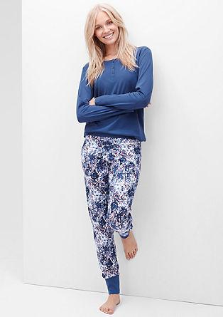 Jersey-Pyjama mit Blumenhose