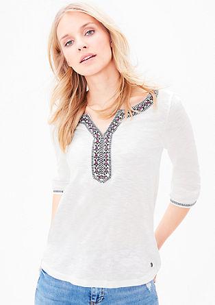 Jersey shirt met etnische details