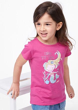 Jersey shirt met glitterprint