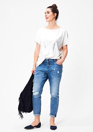 Jersey shirt met veerprint