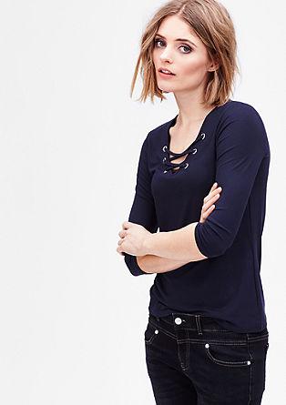 Jersey shirt met vetersluiting