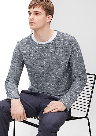 Jersey sweater met een gebreide look
