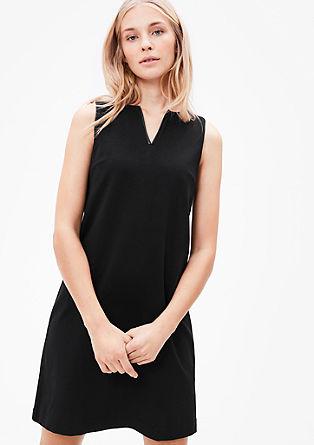 Jerseykleid mit Leder-Optik-Details
