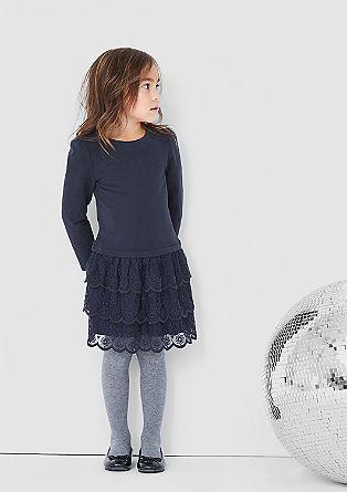 Jerseykleid mit Spitzen-Besatz