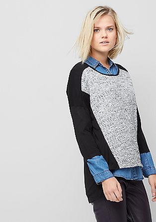 Jerseyshirt met gebreid voorpand van lurex