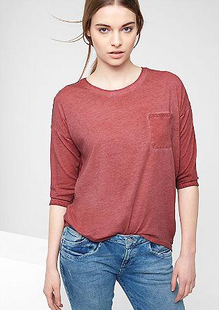 Jerseyshirt mit Chiffon-Rücken