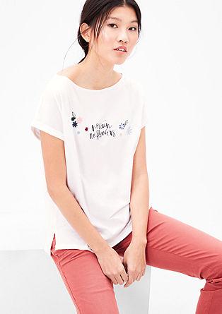 Jerseyshirt mit Print und Stitching