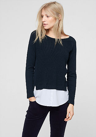 Jumper with a blouse trim from s.Oliver
