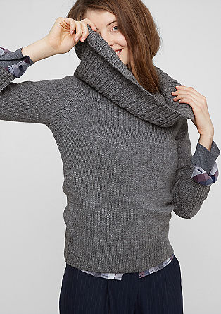 Jumper with a cable knit collar from s.Oliver