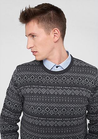 Jumper with a diamond jacquard pattern from s.Oliver