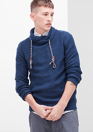 Jumper with a sporty shawl collar from s.Oliver