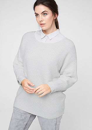 Jumper with batwing sleeves in a textured knit from s.Oliver