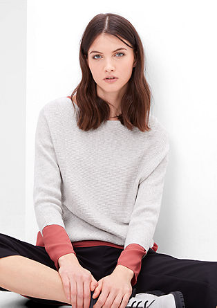 Jumper with cashmere and batwing sleeves from s.Oliver