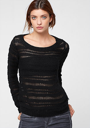 Jumper with knit stripes from s.Oliver