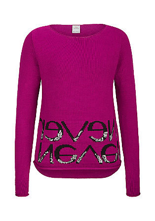 Jumper with lettering and sequins from s.Oliver