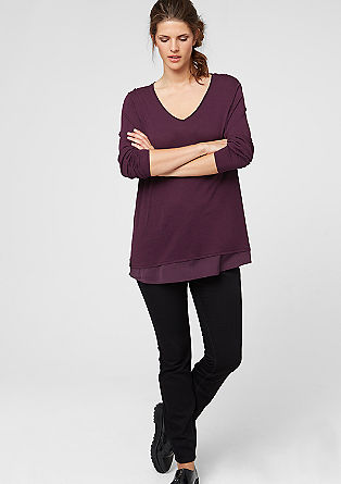 Jumper with satin layering from s.Oliver
