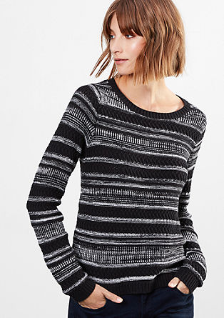 Jumper with textured stripes from s.Oliver