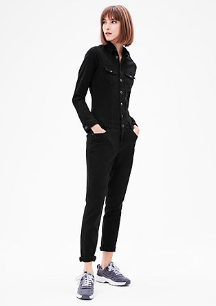Jumpsuit in Black Denim-Optik