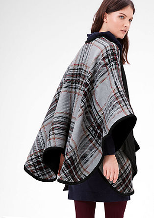 Karierter Double Face-Poncho