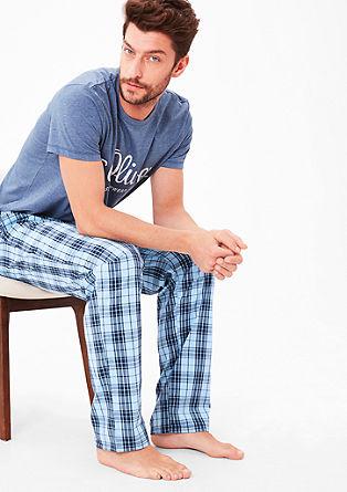 Karirast bombažni spodnji del pižame