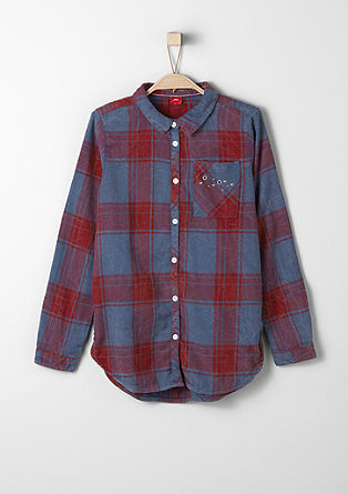 Karirasta srajčna bluza s kovicami