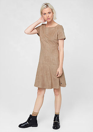 Kleid in Veloursleder-Optik