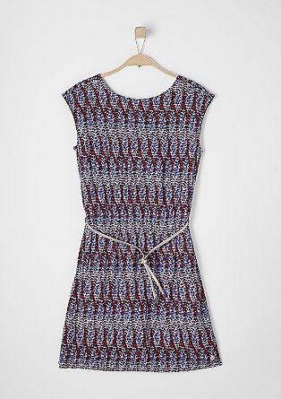 Kleid mit Glanz-Gürtel