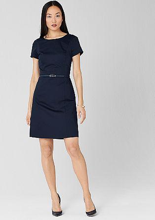 Kleid mit Gürtel aus Baumwollsatin
