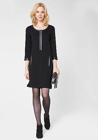 Kleid mit Kunstleder-Details