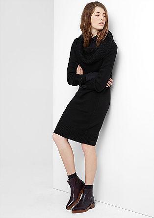 Kleid mit Zopfstrick-Kragen