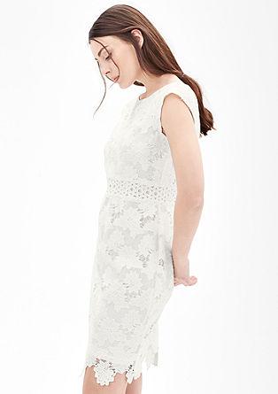 Knielanges Kleid aus floraler Spitze