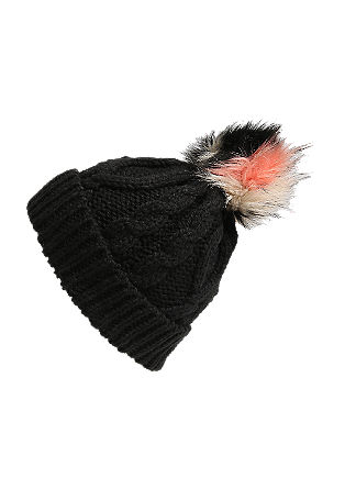 Knit hat with a fake fur pompom from s.Oliver