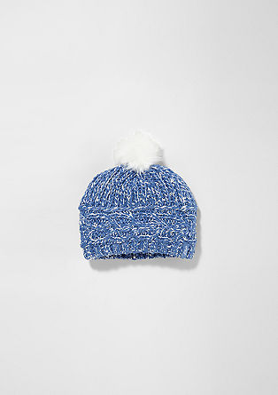 Knit hat with a faux fur pompom from s.Oliver